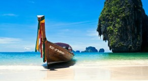 beautiful beach with boat thailand
